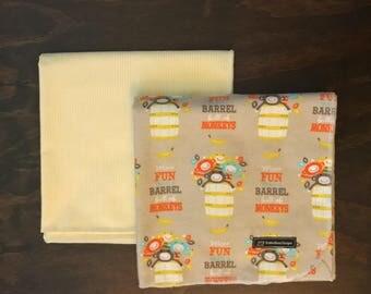Baby Receiving Blanket Set, Set of Two Receiving Blankets, Two Flannel Receiving Blankets, Gender Neutral Baby Blankets, Monkey Baby Blanket