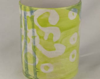 8 oz Chartreuse, white and blue teacup/tumbler