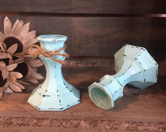 Rustic Aqua Blue Distressed Candle Holders, Set of Two (2), Shabby Chic Candlestick Holders, Farmhouse Decor