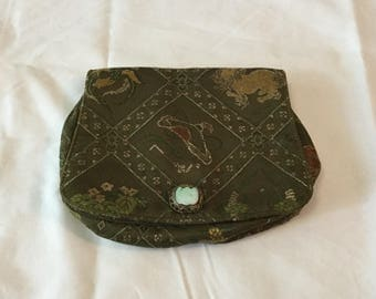 1930's green clutch purse