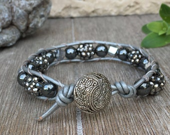 Single Wrap Leather Bracelet Bold Gray