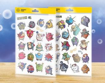 Superhero Stickers Pack «Fatman» — Set of 39 Vinyl Stickers with Superhero: Batman, Superman, Iron man, Spiderman, Hulk, Joker and Harley