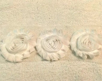 "White Gorgeous Shabby Frayed Chiffon Flower Rosettes 3 x 2.5"", hair bands, clips, crafts etc"