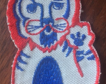 Vintage Lion Appliqué Patch, Sew On, red blue white, 1970s