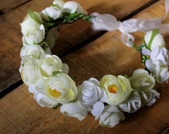 White flower crown Bridal headband White floral crown Floral halo Flower crown floral crown Boho headband Wedding headband