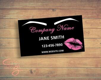 Microblading business card, lips, eyebrows, printable, download