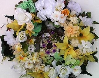 Spring Wreath-The SHABBY CHIC BIRDHOUSE Wreath-Rose Wreath-White Rose Wreath-Yellow Wreath-Decorative Wreath-White Wreath-Indoor Wreath