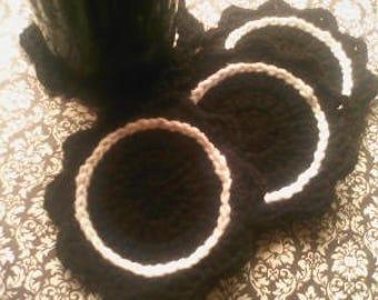 Black flower coasters
