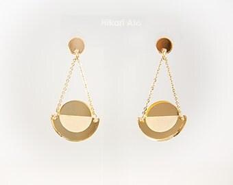 Gold Mirror Acrylic Geometric Drop Earrings