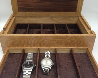 Hardy – shown as oak/walnut watch box, can customise it in wood size and interior. Handmade, fine wood  box, artisan in style.