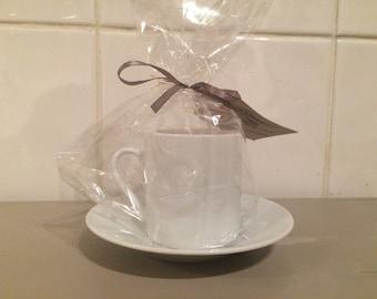Espresso Tea Cup Candle & Saucer