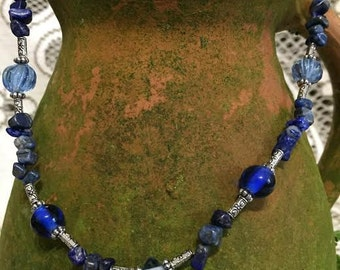 Lapis and Blue Glass Necklace