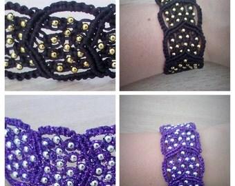 Micro Macrame Bracelet Black or Purple