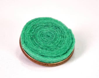Handmade felt pin brooch base metal bronze and turquoise spiral