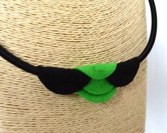 Handmade Felt Choker Necklace Black Green