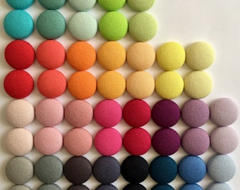 19mm Block Colours Fabric Button Stud Earrings • Fabric Earrings • Cotton Earrings • Button Studs • Surgical Steel