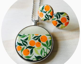Orange Harvest Resin/Bamboo Pendant Necklace & Earrings • Silver • 38mm Pendant on 76cm Rolo Chain • Lobster Clasp • Surgical Steel