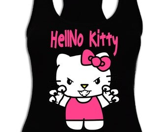 Hello Kitty Shirt, HellNo Shirt, Funny Tank Top. FREE SHIPPING