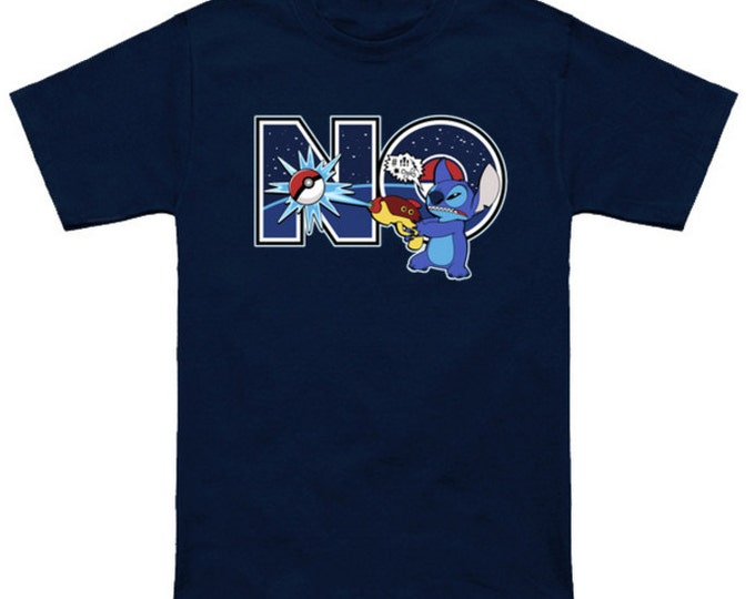 Can't Catch 'em All DISNEY POKEMON MASHUP Cartoon Lilo And Stitch Experiment 626 Japanese Geek T-Shirt Anime Nerd Shirt Ohana