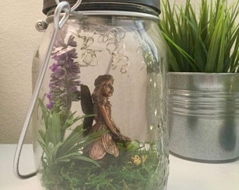 Fairy Garden Mason Jar with Solar Powered Firefly LED Lights