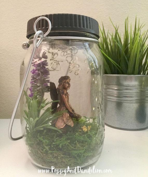 Fairy Garden Mason Jar With Solar Powered Firefly Led Lights