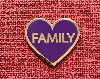I Love My Family Lapel Pin - Purple