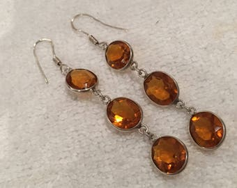 "Gorgeous Vintage Sterling Silver & AMBER Glass Drop and Dangle Earrings-Three Oval AMBER Glass Crystals in Each Earring-7cm Drop- 2"" 3/4"""