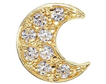 14k Solid Yellow Gold Pendants Petit Roon Pendant 4014 Charming Moon Design