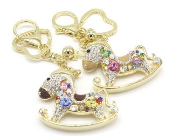 Crystal Hobbyhorse Keyhoder Pure Handmade Key Chain Handbag Accessory for Women