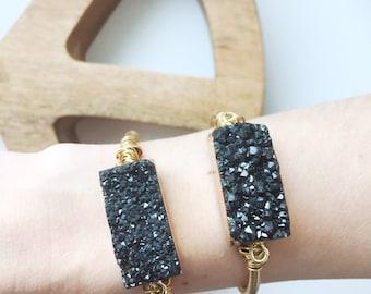 Black Druzzy cuff | Bracelet Bangle | Gold gemstone vertellbar | raw stone gemstone boho Bohemian Gypsy