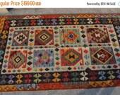 RESERVEDSALE ON 6'7 x 3'5 FT Beautiful Design Afghan Handmade Chobi Kilim
