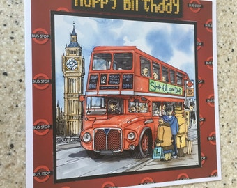 "Handmade Happy Birthday 3D decoupage card London red bus driver double decker 6"" x 6"""