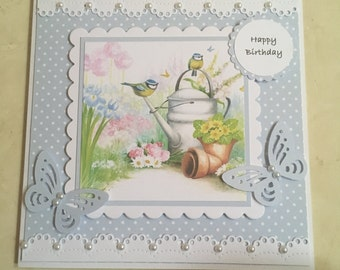 "Handmade Happy Birthday card gorgeous pretty blue tits birds,butterflies,flowers pale blue polka dots and faux pearls 6"" square"