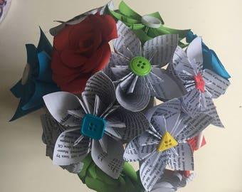 Thank you teacher bouquet. Maths. English. Green and Blue Science paper flower bouquet. Handmade paper flowers. Wedding bouquet. Custom