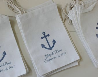20 Wedding favors - Personalized anchor muslin cotton party favor bags 4x6 inch you choose ink color - Great for weddings, bridal showers