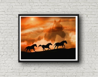 Spirit Guide, Horses, Native American, Southwestern, Spiritual Printable Wall Art in Sunset Colors of Yellow and Orange