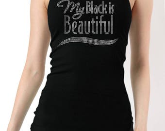 My Black is Beautiful Rhinestones Ribbed Tank Top