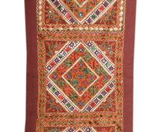 Indian Mirror Work Hand Embroidery wall tapestry/Gypsy bohemian tribal handmade wall curtain/banjara style wall hanging 06