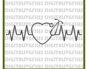 Heartbeat Stethoscope SVG File, Nurse SVG for Cutting Machine, Stethoscope file svg dxf pdf  Stethoscope Vector Art  Nurse Heartbeat svg