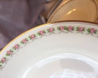 Antique China Pink Rose Bowls, Set/4, Jaeger & Co. Cottage Chic Soup Bowls, Vintage China, Gold Rim Coupe Bowls