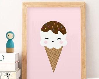 Ice cream sign, Ice cream print, Ice cream cone art, kids room sign, girls wall decor, summer print wall decor, nursery wall art,artprintfac