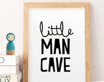 SALE 50% Nursery Printable - Little Man Cave - Kids Room Decor - Nursery Decor - Bear Quote - Woodland Nursery - Baby Shower Gift - Baby Boy