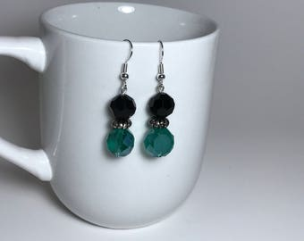 Green Earrings, Black Earrings, Silver Earrings