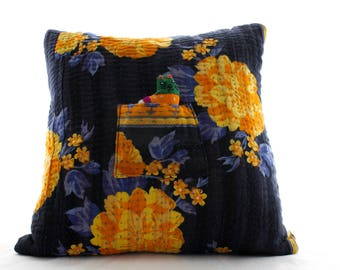 UPCYCLED KANTHA 'Catnap' Cushion, with FAIRTRADE Pocket Cat!