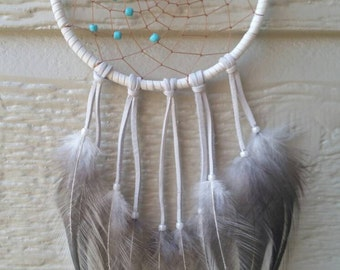 White Turquoise Bustle Dreamcatcher