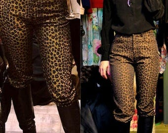Authentic Fendi vintage animal print high waisted trousers pants jeans,8/10 IT43