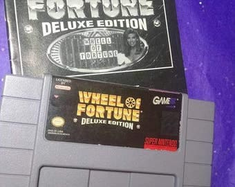 Wheel of Fortune Deluxe Edition (Nintendo SNES, 1992) cleaned and tested-Works!