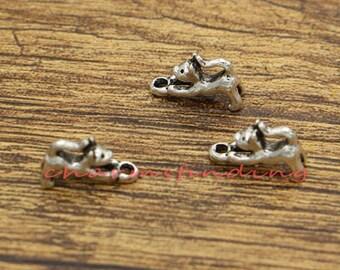 30pcs Tiny Small Cat Charms Cute Animal Charm Antique Silver Tone 13x8mm cf2938