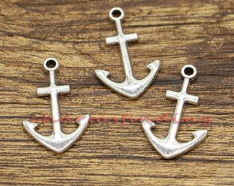 30pcs Anchor Charms Nautical Charms Antique Silver Tone 15x23mm CF2992