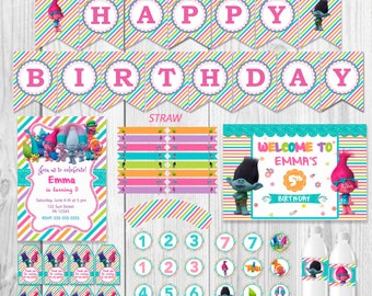 TROLLS Party Package, instant download, Invitation, happy birthday banner, bottle's label, cupcake toppers